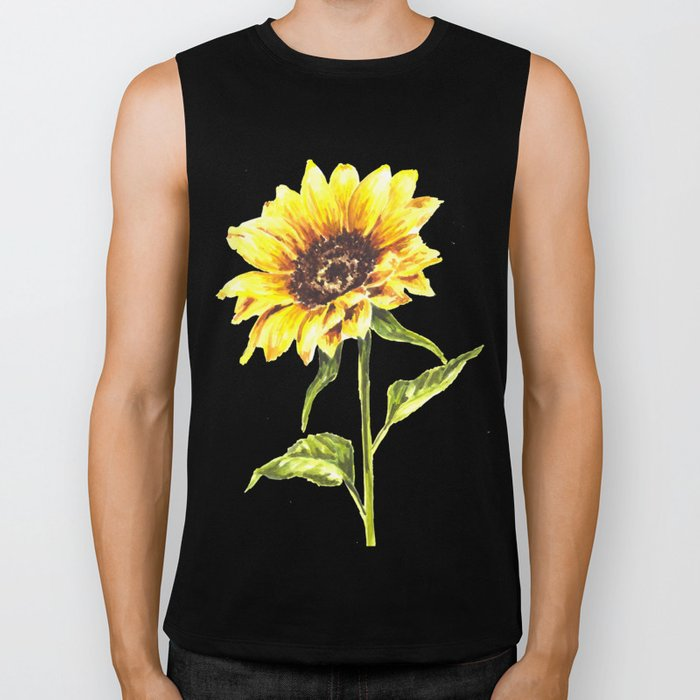 Watercolor Sunflower Biker Tank