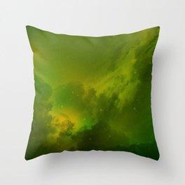 Fantasy Sci-Fi Green Galaxy Universe Throw Pillow