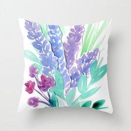 Lavender Floral Watercolor Bouquet Throw Pillow