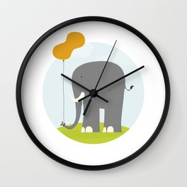 An Elephant With a Peanut Balloon Wall Clock