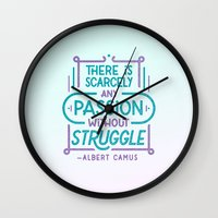 camus Wall Clocks featuring Camus on Passion by Josh LaFayette