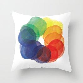 Watercolor Wheel Throw Pillow