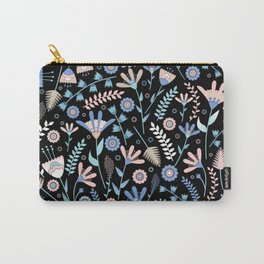 Folk floral pattern / pastel on black Carry-All Pouch