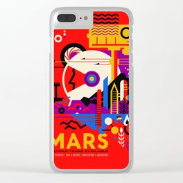 NASA Mars The Red Planet Retro Poster Futuristic Best Quality Clear iPhone Case