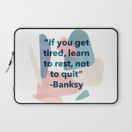inspirational Banksy quote on pastel abstract Laptop Sleeve