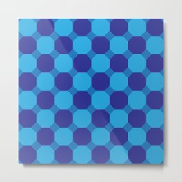 Triple Blue Octogons Metal Print