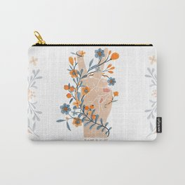 Peace Sign With Orange Flowers, Blue Flowers And Vines Carry-All Pouch