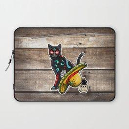 Gato en un Sombrero - Day of the Dead Sugar Skull Cat - Dia de los Muertos Kitty Laptop Sleeve