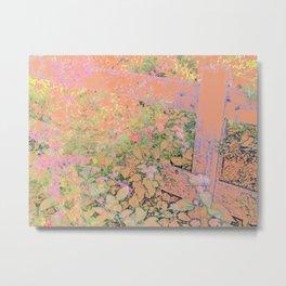Flower/Fence 2 Metal Print