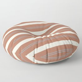 Slate Violet Gray and Creamy Off White Stripes Thick and Thin Horizontal Lines on Cavern Clay Floor Pillow