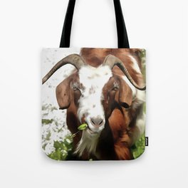 Portrait of a Horned Goat  Tote Bag
