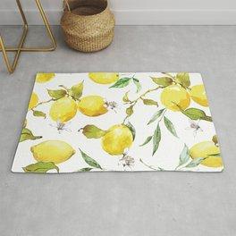 Watercolor lemons 8 Rug