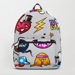 Hand drawn creatures in graffiti style Backpack