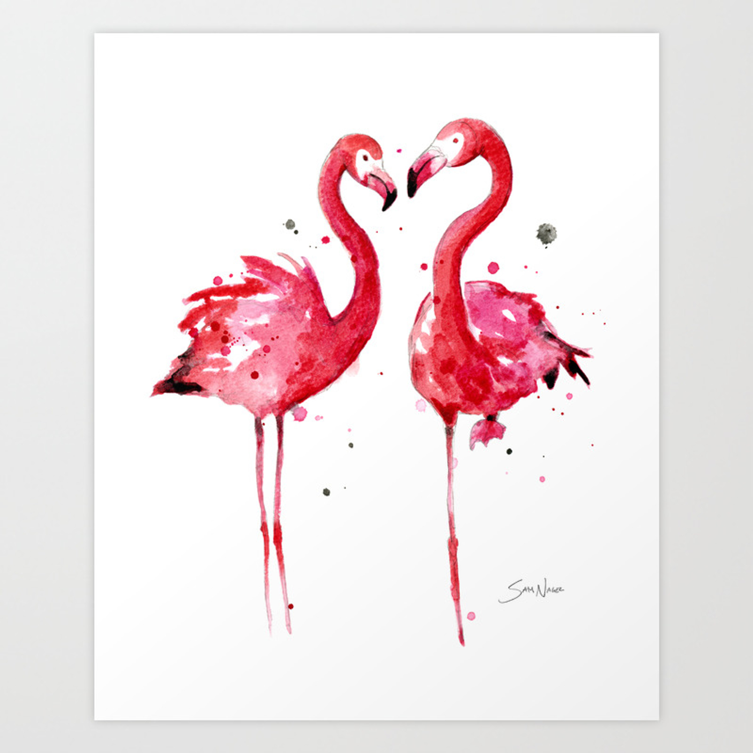 Pink Flamingos Art Print By Samnagel