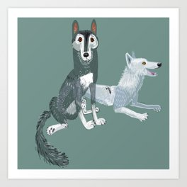 Totem Canadian wolf 1 Art Print