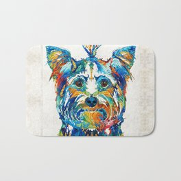Colorful Yorkie Dog Art - Yorkshire Terrier - By Sharon Cummings Bath Mat