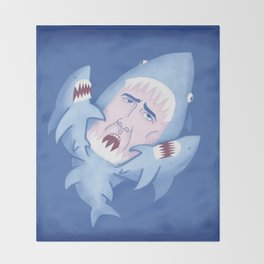 Nic Cage is Sharks! Throw Blanket