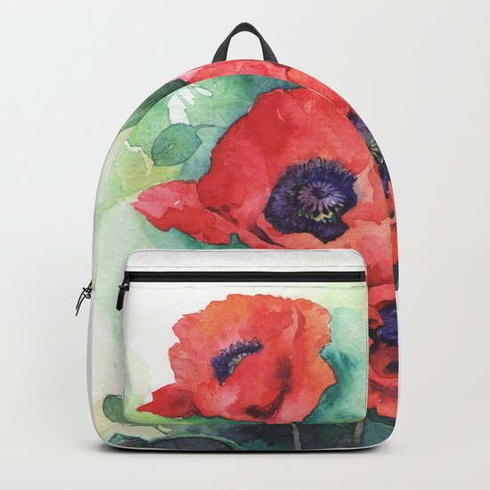 Watercolor red poppy flowers Backpack
