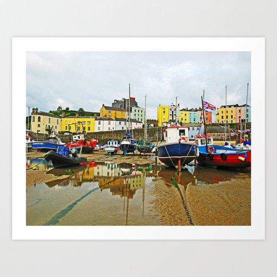 Tenby Harbour Reflection.Wales. Art Print