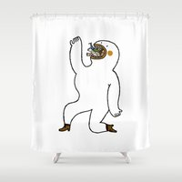 eat Shower Curtains featuring Eat Eat Eat by Jarvis Glasses