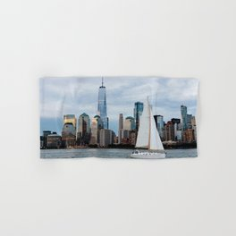 Sailing boat against skyline of New York Hand & Bath Towel