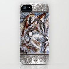 Gray Wolf Watches and Waits Slim Case iPhone (5, 5s)