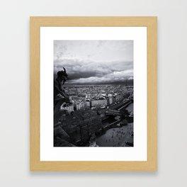 The Gargoyle Guarding Paris. Framed Art Print