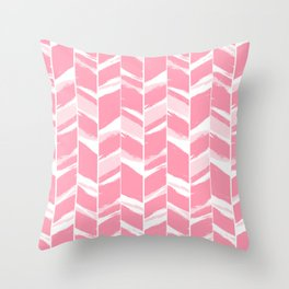 Modern abstract pink geometric brushstrokes chevron pattern Throw Pillow