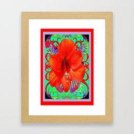 Italian  Style Design Red Amaryllis Abstract Framed Art Print