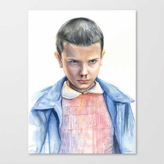 Eleven Stranger Things Watercolor Portrait Canvas Print