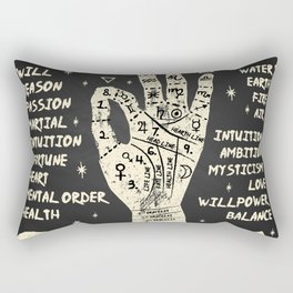 Palmistry, chiromancy. White on a blackboard background. Rectangular Pillow