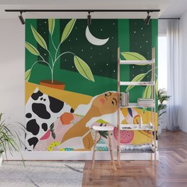 Moon Lover, Bold Quirky Fashion Illustration, Eclectic Decor Modern Bohemian Plant Lady Wall Mural