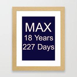 Max Verstappen youngest f1 grand prix winner - 18 years, 227 days Framed Art Print