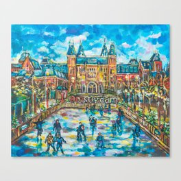 Ice skating in Amsterdam Canvas Print