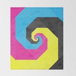 CMYK triangle spiral Throw Blanket