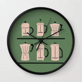 Volturno & French Press Coffee #6 opaque green & vintage pink Wall Clock