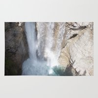 allyson johnson Area & Throw Rugs featuring Johnson Canyon Waterfall by RMK Photography