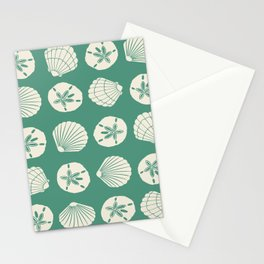 Sea Shells Green Stationery Cards