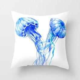 JellyFish, Blue Aquatic Artwork Throw Pillow