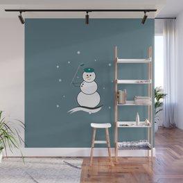 Golfing Snowman Wall Mural