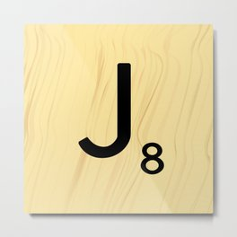 Scrabble J Decor, Scrabble Art, Large Scrabble Tile Initials Metal Print