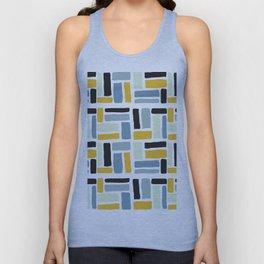 Abstract yellow black geometric modern brushstrokes  pattern Unisex Tank Top