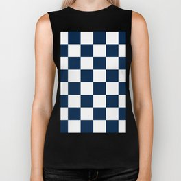 Large Checkered - White and Oxford Blue Biker Tank