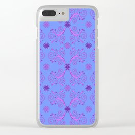 Flowers & Flourishes, blue & pink Clear iPhone Case