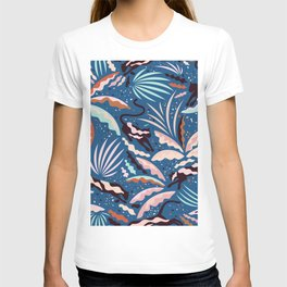 Exotic Wilderness on Blue / Panthers and Plants T-shirt