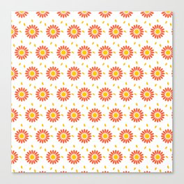 Modern orange yellow hand painted floral pattern Canvas Print
