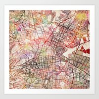 mexico Art Prints featuring Mexico by MapMapMaps.Watercolors