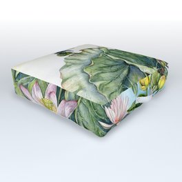 Japanese Water Lilies and Lotus Flowers Outdoor Floor Cushion