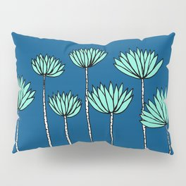 Blue and Teal Tropical Botanical Print by Emma Freeman Designs Pillow Sham