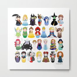Kokeshis Fairy tales (new version) Metal Print